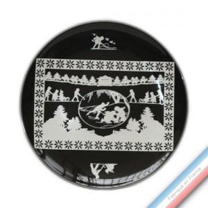 Collection PAPIERS DECOUPES BLANC fond NOIR - Assiette plate - Diam  26,5 cm -  Lot de 4