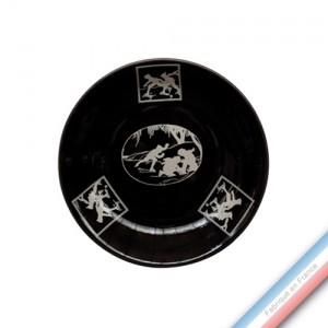 Collection PAPIERS DECOUPES BLANC fond NOIR - Assiette creuse - Diam  21 cm -  Lot de 4