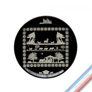 Collection PAPIERS DECOUPES BLANC fond NOIR - Assiette dessert - Diam  21 cm -  Lot de 4