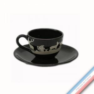 Collection PAPIERS DECOUPES BLANC fond NOIR - Tasse et soucoupe café - 0,05L / 11,5cm -  Lot de 4