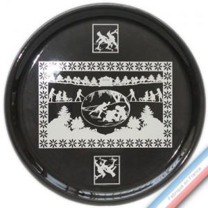 Collection PAPIERS DECOUPES BLANC fond NOIR - Plat tarte - Diam  32 cm -  Lot de 1
