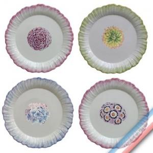 Collection ECLECTICA - Coffret 4 assiettes plates bouquets - 28 x 28 x 6 cm -  Lot de 1