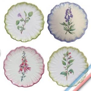 Collection ECLECTICA - Coffret 4 assiettes pain fleurs poisons - 17 x 17 x5 cm -  Lot de 1