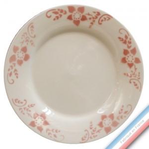 """Collection FERME """"1950"""" - Assiette plate Pivoine - Diam  27 cm -  Lot de 4"""