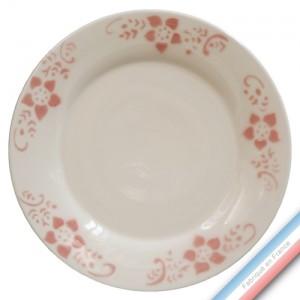 """Collection FERME """"1950"""" - Assiette dessert Pivoine - Diam  21.5 cm -  Lot de 4"""
