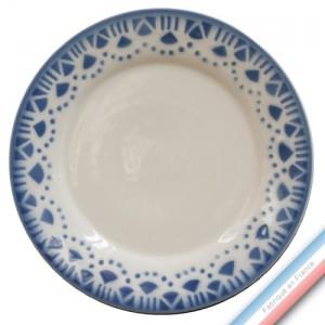 """Collection FERME """"1950"""" - Assiette dessert Bleu - Diam  21.5 cm -  Lot de 4"""