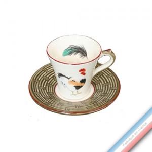 Collection COUR NORMANDE BRONZE - Tasse et soucoupe café - 0,05L / 11,5cm -  Lot de 4