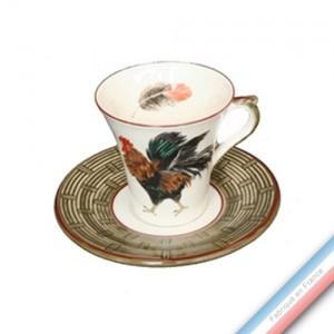Collection COUR NORMANDE BRONZE - Tasse et soucoupe thé - 0,15L / 15 cm -  Lot de 4