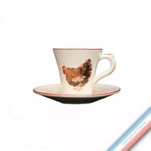 Collection BOCAGE - Tasse et soucoupe café - 0,05L / 11,5cm -  Lot de 4