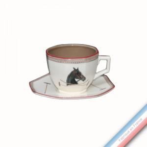 Collection CHANTILLY - Tasse et soucoupe thé perle - 0,17 L - 13,5 cm -  Lot de 4