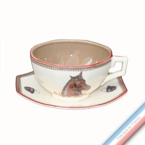 Collection CHANTILLY - Tasse et soucoupe déjeuner - 0,36 L - 16,5 cm -  Lot de 4