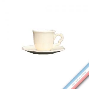 Collection MAINTENON PATINE VANILLE - Tasse et soucoupe café - 0,05L / 11,5cm -  Lot de 4