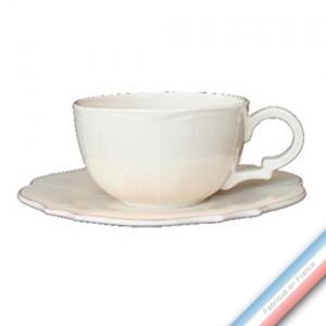 Collection MAINTENON PATINE VANILLE - Tasse et soucoupe déjeuner - 0,40L / 21cm -  Lot de 4
