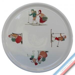 Collection JEUX D'HIVER - Plat tarte - Diam  32 cm -  Lot de 1