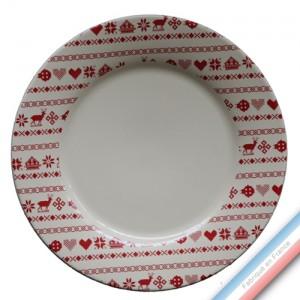 Collection MONTAGNE ROUGE - Assiette plate - Diam  27 cm -  Lot de 4