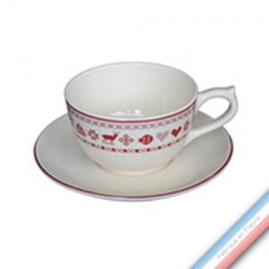 Collection MONTAGNE ROUGE - Tasse et soucoupe déjeuner  - 0,25L / 17,5cm -  Lot de 4