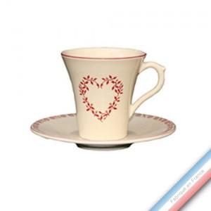 Collection TENDRE ROUGE - Tasse et soucoupe thé - 0,20L / 15 cm -  Lot de 4