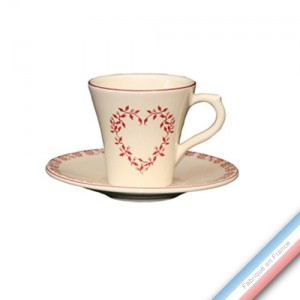 Collection TENDRE ROUGE - Tasse et soucoupe café - 0,05L / 11,5cm -  Lot de 4
