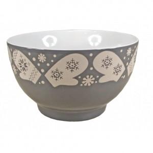 Bol Céramique motifs Flocons - coloris gris