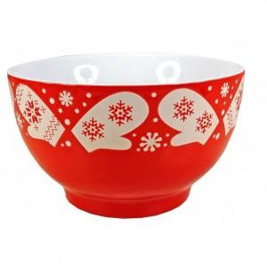 Bol Céramique motifs Flocons - coloris rouge