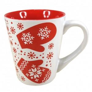 Mug en céramique motifs Flocons Hiver  - coloris blanc