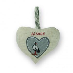 Coeur à suspendre Cigogne sur coeur gris