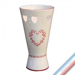 Collection TENDRE ROUGE - Vase coeurs  - H 30 cm - D 16 cm  -  Lot de 1