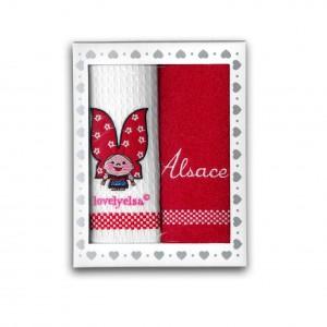 Coffret 2 torchons Lovely Elsa - blanc et rouge