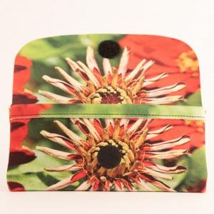 Etui à lunettes collection fleurs - Zinnia rouge fond vert