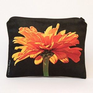 Porte-monnaie collection fleurs - Zinnia orange fond noir