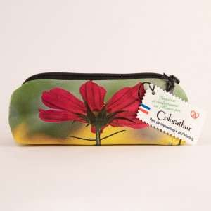 Trousse à crayons collection fleurs - Cosmo fuschia fond jaune