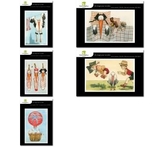 Lot de 5 cartes postales - Dessins Katia Schmitt - CIGOGNE HEUREUSE