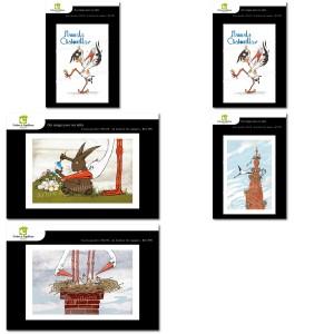 Lot de 5 cartes postales - Dessins Elsa Speckel CIGOGNE HUMORISTIQUE