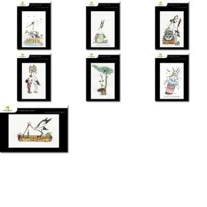 Lot de 7 cartes postales - Dessins Nicolas Mengus - CIGOGNE HUMORISTIQUE 2