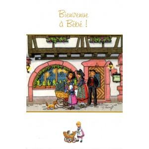 """Carte de voeux Alsace Ratkoff - """"Bienvenue à bébé"""" - Landau"""