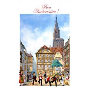 """Carte de voeux Alsace Ratkoff - """"Bon Anniversaire"""" - cathédrale"""