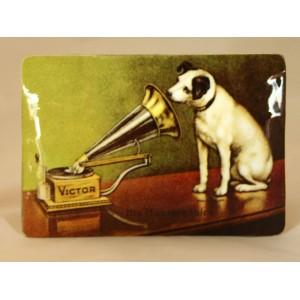"""Plaque vernie """"La voix de son maître"""" (chien)"""